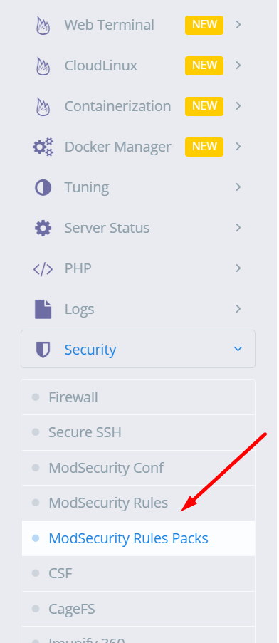 Enable COMODO ModSecurity Rules Package