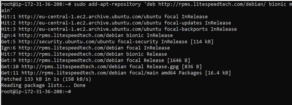 Update Install OpenLiteSpeed