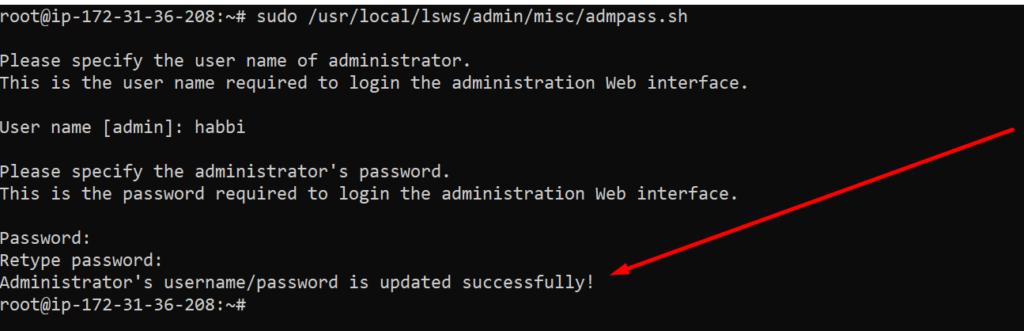 chnage admin password