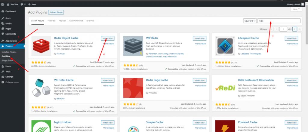 Install Redis Plugin on WordPress: