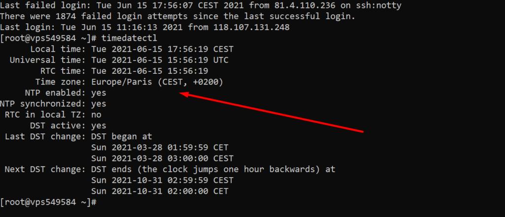 server current timezone